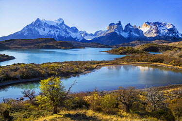 CHI8967 Chile, Torres del Paine, Magallanes Province. The principal attraction of the Torres del Paine National Park is the Paine massif with its granite spires and the contrasting igneous, sedimentary and me...
