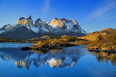CHI8968 Chile, Torres del Paine, Magallanes Province. The principal attraction of the Torres del Paine National Park is the Paine massif with its granite spires and the contrasting igneous, sedimentary and me...