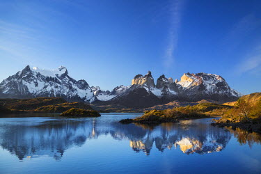 CHI8969 Chile, Torres del Paine, Magallanes Province. The principal attraction of the Torres del Paine National Park is the Paine massif with its granite spires and the contrasting igneous, sedimentary and me...