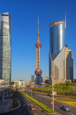 CN176RF China, Shanghai, Pudong District, Financial District including Oriental Pearl Tower