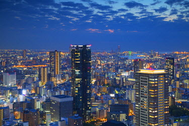 JAP0670AW View of Osaka at dusk, Kansai, Japan