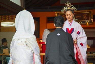 JAP0679AW Traditional wedding ceremony at Shinto shrine of Sumiyoshi Taisha, Osaka, Kansai, Japan