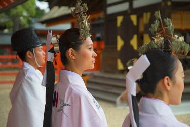 JAP0683AW Shrine maidens and priest at traditional wedding ceremony at Shinto shrine of Sumiyoshi Taisha, Osaka, Kansai, Japan