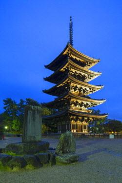 JAP0713AW Pagoda at Kofuku-ji Temple (UNESCO World Heritage Site) at dusk, Nara, Kansai, Japan
