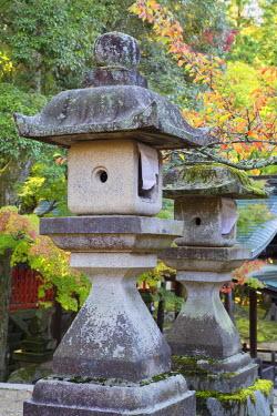 JAP0765AW Stone lanterns at Sangatsudo Hall in Nara Park, Nara, Kansai, Japan