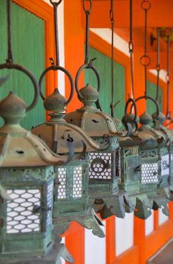 JAP0766AW Lanterns at Kasuga Taisha Shrine (UNESCO World Heritage Site) at dusk, Nara, Kansai, Japan