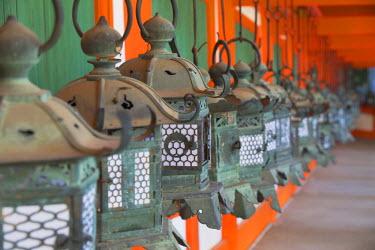 JAP0767AW Lanterns at Kasuga Taisha Shrine (UNESCO World Heritage Site) at dusk, Nara, Kansai, Japan