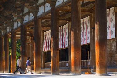 JAP0768AW People at Toshodaiji Temple (UNESCO World Heritage Site), Nara, Kansai, Japan