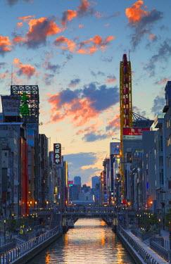 JAP0787AW Dotombori at sunset, Osaka, Kansai, Japan