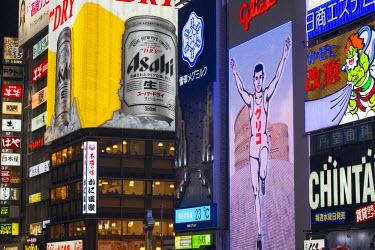 JAP0791AW Neon signs, Dotombori, Osaka, Kansai, Japan
