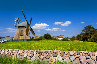 GER8267AW Windmill, Nebel, Amrum Island, Northern Frisia, Schleswig-Holstein, Germany