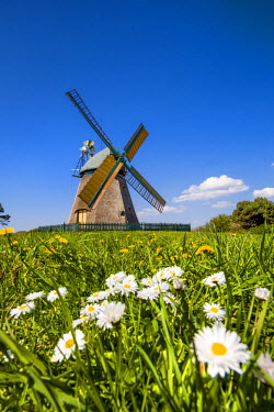 GER8269AW Windmill, Nebel, Amrum Island, Northern Frisia, Schleswig-Holstein, Germany