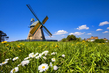 GER8270AW Windmill, Nebel, Amrum Island, Northern Frisia, Schleswig-Holstein, Germany
