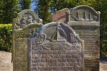 GER8266AW Old gravestones, Nebel, Amrum Island, Northern Frisia, Schleswig-Holstein, Germany