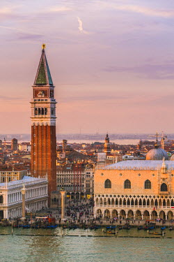 ITA3555AW Italy, Veneto, Venice. High angle view of the city at sunset