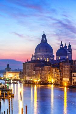 ITA3560AW Italy, Veneto, Venice. Santa Maria della Salute church and Grand Canal at sunrise