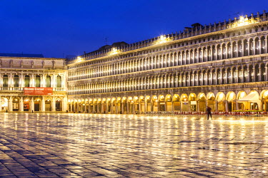 ITA3493AW Italy, Veneto, Venice. St Marks square illuminated before dawn