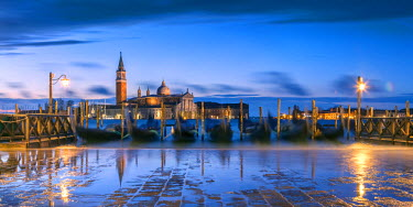 ITA3496AW Italy, Veneto, Venice. High tide coming to Riva degli Schiavoni at dawn
