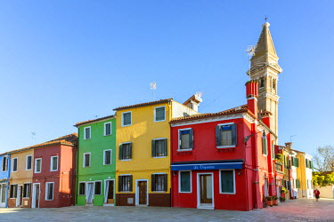 ITA3520AW Italy, Veneto, Venice, Burano. Colorful buildings in the town center