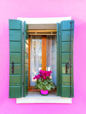 ITA3521AW Italy, Veneto, Venice, Burano. Typical window on a colorful house