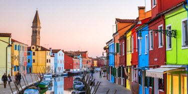 ITA3529AW Italy, Veneto, Venice, Burano. Sunset in the town