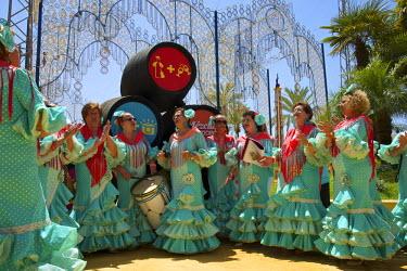 SPA6385AW Flamenco dancers, Feria del Caballo in Jerez de la Frontera, Andalusia, Spain