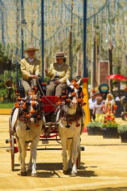 SPA6387AW Horse-drawn carriage, Feria del Caballo in Jerez de la Frontera, Andalusia, Spain