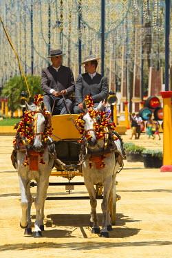 SPA6388AW Horse-drawn carriage, Feria del Caballo in Jerez de la Frontera, Andalusia, Spain