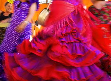 SPA6389AW Flamenco dancers, Feria del Caballo in Jerez de la Frontera, Andalusia, Spain