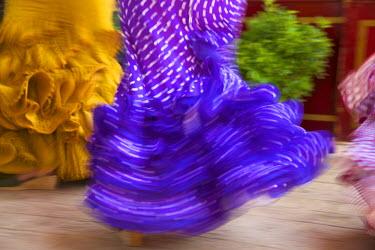 SPA6390AW Flamenco dancers, Feria del Caballo in Jerez de la Frontera, Andalusia, Spain