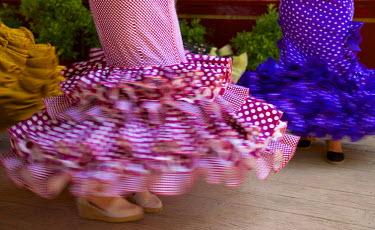 SPA6391AW Flamenco dancers, Feria del Caballo in Jerez de la Frontera, Andalusia, Spain