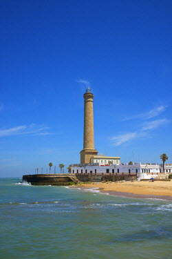 SPA6328AW Beach and lighthouse of Chipiona, Costa de la Luz, Andalusia, Spain
