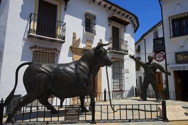 SPA6342AW Bull sculpture in Grazalema, Parque Natural Sierra de Grazalema, Andalusia, Spain