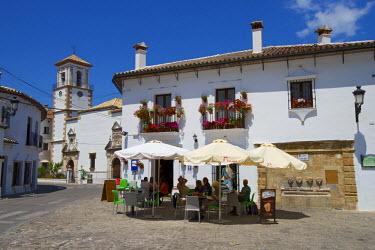 SPA6343AW Streetcafe in Grazalema, Parque Natural Sierra de Grazalema, Andalusia, Spain