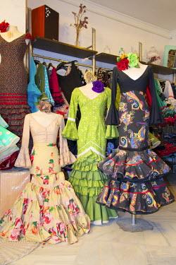 SPA6346AW Flamenco dresses,  El Rocio, Parque Natural de Donana, Costa de la Luz, Andalusia, Spain