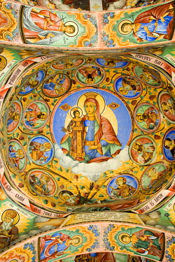 HMS0305070 Bulgaria, Rila Monastery, listed as World Heritage by UNESCO, established in the 10th century, monument characteristic of the bulgarian Renaissance (18th-19th centuries), frescoes of the Nativity of t...
