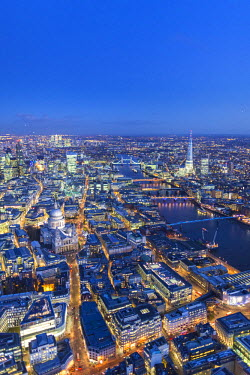 UK10920 Aerial view of St. Paul's, The Shard, River Thames and City of London, London, England