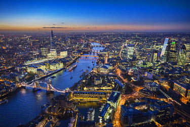 UK10927 Aerial view of The Shard, River Thames, Tower Bridge and City of London, London, England