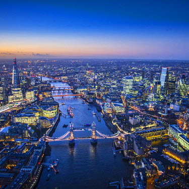 UK10916 Aerial view of The Shard, River Thames, Tower Bridge and City of London, London, England