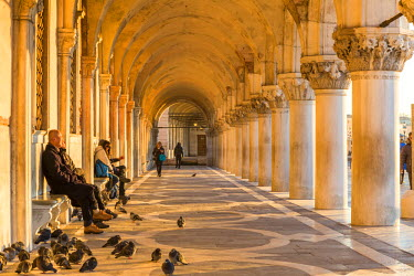 ITA3588AW Italy, Veneto, Venice. Colonnade of Doge's palace at sunrise