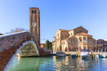 ITA3596AW Italy, Veneto, Venice, Murano island. Bridge and Duomo dei Santi Maria e Donato church