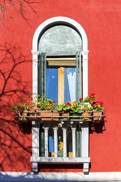 ITA3599AW Italy, Veneto, Venice, Murano island. Ornate traditional window