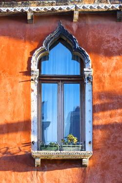 ITA3608AW Italy, Veneto, Venice, Murano island. Typical ornate window
