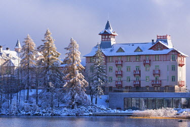SLV1292AW Luxury Hotel Kempinski on the shores of Strbske Pleso in the High Tatras, Slovakia, Europe. Autumn (October)