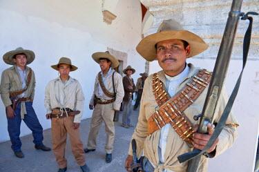 HMS0867466 Mexico, Sierra Madre Occidental, Sinaloa State, El Fuerte, Citizen Buelna movie shooting