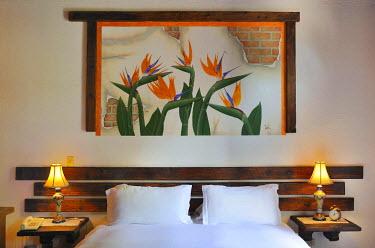 HMS0879515 Mexico, Baja California Sur State, Loreto, Hotel Posada de las Flores, Bedroom