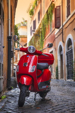 IT01845 Italy, Lazio, Rome, Trastevere, Red Vespa