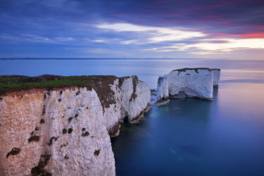 ENG12046AW Old Harry Rocks at the start of the Jurassic Coast World Heritage Site, Dorset, England. Spring