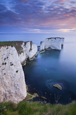 ENG12044AW Dawn over Old Harry Rocks on the Jurassic Coast, Dorset, England. Spring