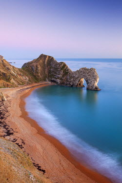 ENG12173AW Deserted beach at twilight, Durdle Door, Dorset, England. Winter